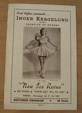 "1939 SOUVENIR Program~""NEW ICE REVIEW""~Champion SKATER Inger Kragelund/NORWAY~"