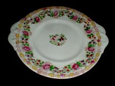 English Victorian Staffordshire Pink Floral Garden Cake Plate 1800s (loc-33)