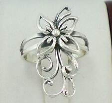 PRETTY STERLING SILVER LONG DETAILED FLOWER RING size 10  style# r1515