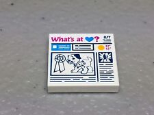 Lego White Tile 2x2 Prize Ribbon Dog and 'What's at Heart?' Newspaper Pattern