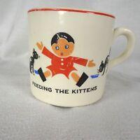 Edwin Knowles China Childs Mug Feeding the Kittens 1930s Union Made USA