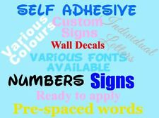 CUSTOMISED PERSONALISED VINYL SELF ADHESIVE LETTERS NUMBER EASY SELF APPLICATION