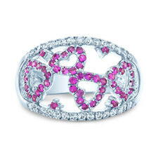 Pink Sapphire Diamond Heart Ring 14k White Gold Floating Cocktail Design 0.82TCW