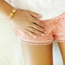 Zara Summer Peach Crochet Lace Shorts Hotpants Zipper Boho Festival Size S