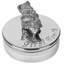 Christening Gift  a Pewter Teddy Bear First Tooth Box