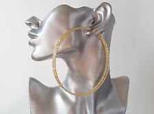 Large hoop earrings - 10cm gold tone oversized 3 row patterned big - huge hoops