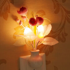 US Plug Flower Mushroom LED Night Light Sensor Baby Bedroom Lamp Home Wall Decor