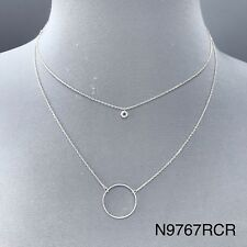 Rhinestone Circle Shape Charms Necklace Simple Unique Silver Tone Chain Clear