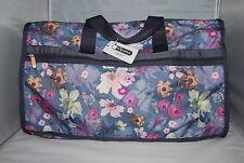 LeSportsac Large Weekender Charisma Floral Print Pink Blue Duffle Travel Bag