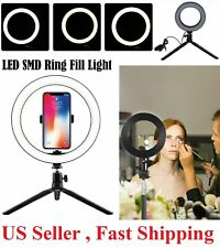"""8"""" LED Ring Light with Tripod Stand & Phone Holder Dimmable Desk Ringlight Kit"""