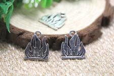 15pcs Flame Charms, Antique Tibetan silver Blaze Fire Charms pendants 16x19mm