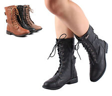 Black Color New Lace Up Combat Military Women Mid Calf Boots Shoes Size 5.5