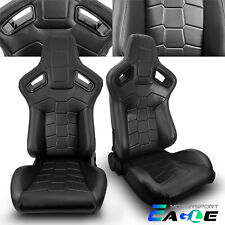 Jdm Universal Black Pvc Leather Sport Racing Seats Leftampright Withslider Pair
