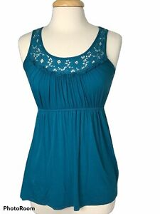 Delia's Wome's S Teal Scoop neck Sleeveless Lace Stretch Waist Cami Top EUC