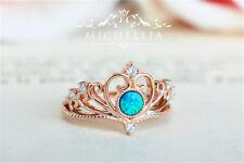 18K Rose Gold Filled Women Crown Green Fire Opal White Topaz Wedding Ring Sz6-10