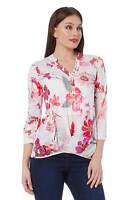 Roman Originals Women's Pink Floral Burnout Bubble Hem Top Sizes 10-20