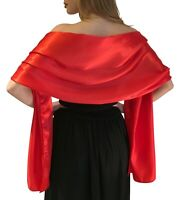 Red Satin Pashmina Shawl Stole Scarf Bridal Wedding Wrap Bridesmaids S-M L-XL
