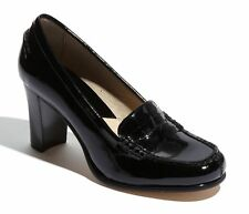 $115 size 6 Michael Kors Bayville Black Patent Leather Loafer Pump Heel Shoes