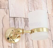 Gold Color Brass Single Tumbler Holder Toothbrush Cup Bathroom Accessory fba309
