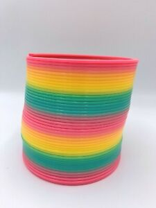 "Large Rainbow Slinky Toy Plastic Multi Color Spring Coil Jumbo Size 5"" Diameter"