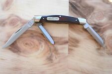 "Buck Knives 373 3-bladed folding pocket knife w/ woodgrain handles 3.27"" closed"