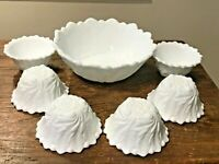 INDIANA VINTAGE WILD ROSE MILK GLASS FRUIT DESSRT SALAD SERVNG BOWL SET 7 PC EUC