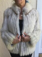 Beautiful SAGA SILVER BLUE/WHITE FOX from Finland FUR COAT/JACKET WOMENS SIZE M