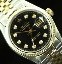 Rolex Mens Datejust Two Tone Stainless Gold Diamond Dail Fluted Bezel