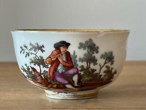 Rare Early Royal Vienna Porcelain Small Cup Hand Painted With A Musician c1760