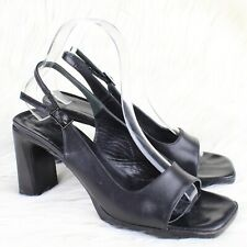 Via Spiga Square Toe Slingback Sandals Heels Open Toe Black Leather Size 7