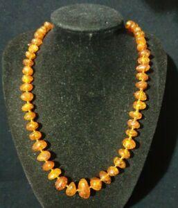 Vintage Graduated Natural Baltic Honey Amber Necklace screw barrel clasp