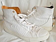 ANDROID HOMME Designer Handmade White Reptile Print Leather Trainers UK 9 EU 43