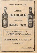 """BORDEAUX ETS HONORE PICON """" AMER HONORE """" PUBLICITE 1919"""