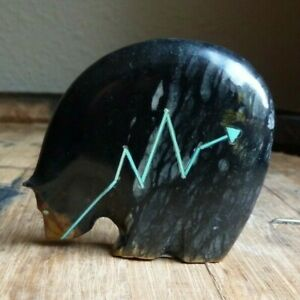 Stewart Quandelacy ZUNI Fetish Carved Picaso Marble Stone Medicine Bear