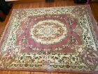 Vintage 8 x 10 Oriental 100% Wool Rug Floral Sculpted Chinese Aubusson Rug