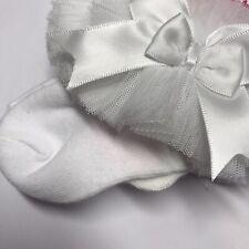 Baby Girls White Frilly Bow Lace Tutu Socks Infant Newborn Toddler Ankle Socks