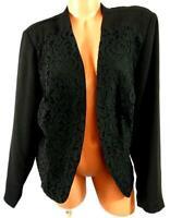 Just Fab black victorian lace trim long sleeves plus open front blazer jacket 2X