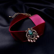 14k Gold Burgundy Red Velvet Choker Necklace w Swarovski Crystal Stone Green