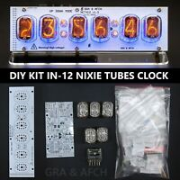 KIT Nixie Tube Clock IN-12 DIY [RGB USB Musical] Sockets Tubes Acrylic Stand