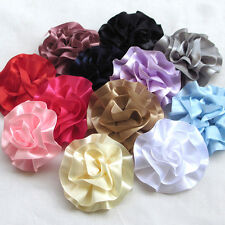 10pcs Large 6.5CM Satin Ribbon Rose Flowers Bows Crafts Wedding Appliques Lots