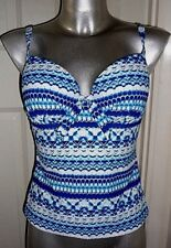 Ladies Blue Silver Metallic Padded Under Wired Cup Tankini Top Swimsuit UK 12