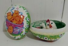 """Paper Mache Easter Egg Candy Container w Chenille Hatching Chicks 4.25"""" diorama"""