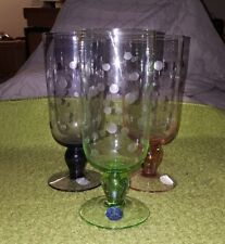 3 ETCHED BLOCK GLITTER GOBLET GLASSES AMETHYST, GREEN, PEACH WATER ICED TEA NEW