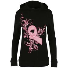 Pink Ribbon Women's Size Small Lightweight Thermal Hoodie Black and Pink