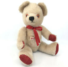 Farnell UK Teddy Bear Mohair Plush Squeaker Red Pads ID Seam Tag 14in 1960s Vtg