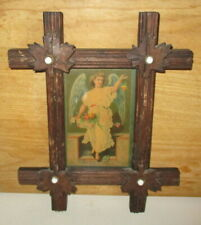 ANTIQUE VICTORIAN ADIRONDACK PICTURE FRAME WITH CARVED LEAF'S & WHITE HEAD NAILS