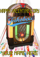 Jukebox tv309 Fun Cute valentines Day Card A5 Personalised Greetings