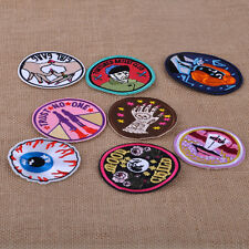 8 x Embroidered Sew On / Iron on Patches Set Badge Bag Hat Jeans Fabric Applique