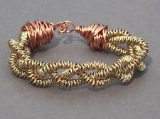 """DUO COLOUR WIRE TWISTED BANGLE / BRACELET 7"""" GREEN & COPPER"""