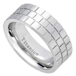 Men's 8mm Titanium Band White Titanium Ring Pipe Cut Brick Pattern Design